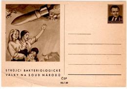 GUE - L3 - TCHECOSLOVAQUIE Entier Postal Illustré Thème Guerre Bactériologique En Corée