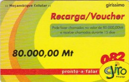 Mozambique, 80.000,00Mt, Giro Recharge Card, 2 Scans.  Expiry : 31/12/2004 - Mozambique