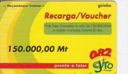 Mozambique, 150.000,00Mt, Giro Recharge Card, 2 Scans.  Expiry : 31/12/2004 - Mozambique