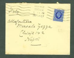 "GREAT BRITAIN 1937 Cover Uckfield To NAPOLI ITALY 2 P HALF LIGHT BLUE CANCEL ""LOTTERIA TRIPOLI"" (E8670 - Postmark Collection"
