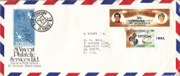 St. Vincent Grenadines Cover To USA Scott #O1, #O2 Official O/p 50c Prince Charles, Lady Diana- Royal Wedding - St.Vincent & Grenadines