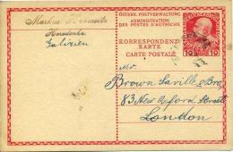 Carte Postale 10 Heller Horodenka Pour Londres Cachet Peu Lisible - Postwaardestukken