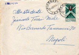 1957 STORIA POSTALE PRUDENZA SULLA STRADA LIRE 25 ISOLATO--R331 - 1946-60: Storia Postale