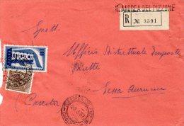 1957 STORIA POSTALE RACCOMANDATA EUROPA LIRE 60 +SIRACUSANA DA S.ANDREA DEL PIZZONE(CASERTA)--R329 - 1946-60: Storia Postale