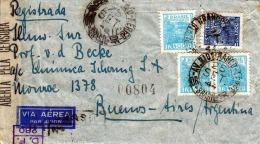 Brasilien, 1944, LP-Brief 4 Fach Frankiert, Zensurstempel, 8 Stempel - Briefe U. Dokumente