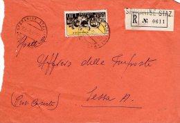 1959 STORIA POSTALE RACCOMANDATA 17°OLIMPIADE ROMA LIRE 110 ISOLATO DA SPARANISE STAZIONE(CASERTA)--R333 - 1946-60: Storia Postale