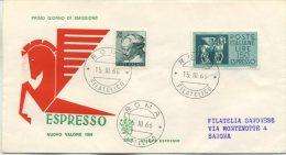 ITALIA - FDC VENETIA 1966 - ESPRESSO CAVALLI ALATI DA LIRE 150 + COMPLEMENTARE - VIAGGIATA PER SAVONA - 6. 1946-.. Repubblica