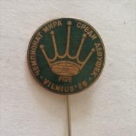Badge / Pin (Chess) - USSR SSSR CCCP Vilnius World Championship Women FIDE 1986 - Badges