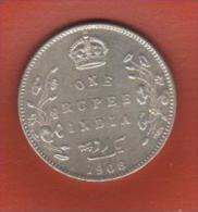 INDIA INDIE - 1908 - 1 RUPIE - SILVER - CIRCULATED - India