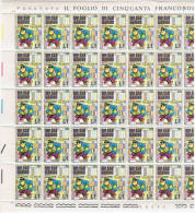 SAN  MARINO:  1971  WALT  DISNEY  -  £. 1  GAMBA  DI  LEGNO  FOGLIO  DI  50  N. -  SASS. 814 - Hojas Bloque