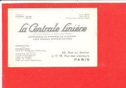 PARIS Carte Visite Centrale Liniere Fournisseur Matériel Guerre - Cartes De Visite