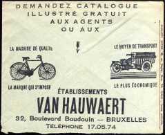 Belgique 1936. Enveloppe En Franchise Postale CCP (free Postage). Vélos Et Motos, Triporteur Van Hauwaert. Laines Duez - Moto
