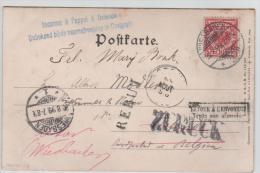 01140a Wiesbaden 1899 V. Ostende Gff Inconnu - Onbekend Rebut Retour Zuruck 1140 - Germania