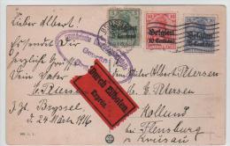 01159a Bruxelles-Brussel 1916 C. Méc. Expres TP Oc. 2-3-4 Censure Ovale B V Flensburg - Guerre 14-18
