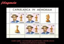 TRASTERO. CUBA MINT. 1982 HOMENAJE A JOSÉ RAÚL CAPABLANCA. AJEDREZ. MINIPLIEGO - Cuba