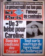 PUBLICITE 1987 AFFICHE DE PRESSE ICI PARIS 56cmX76cm N°2175 CAROLINE MONACO NAUFRAGE DU FERRY-BOAT DE ZEEBRUGGE CESARS.. - Manifesti