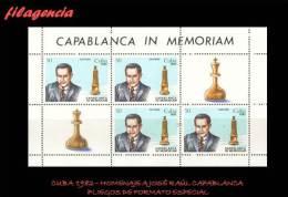 TRASTERO. CUBA MINT. 1982 HOMENAJE A JOSÉ RAÚL CAPABLANCA. AJEDREZ. MINIPLIEGO - Nuevos
