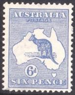 Australia 1913 Kangaroo 6d Blue 1st Watermark MH - 1913-48 Kangaroos