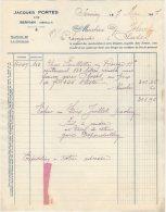34 SERVIAN FACTURE 1937 VINS Jacques PORTES   * B8 - 1900 – 1949