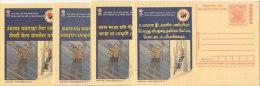 4 Diff. Languages, Industrial Safety & Health, Helmet, Gloves, Meghdoot Postcard - Fábricas Y Industrias