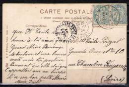 """Sur Carte Postale BONNE FETE, 2 Timbres 5c Type Blanc Perforés M R, Cachet """"ST-CHAMOND 22-11-04"""" - Marcophilie (Lettres)"""