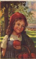Postcard, Old, Germany, Red Riding Hood, Apples, - Vertellingen, Fabels & Legenden