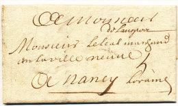 """Langres Hte Marne Marque Manuscrite """"De Langres"""" 1ère Date Connue 21 Juin 1713 RARE - Postmark Collection (Covers)"""