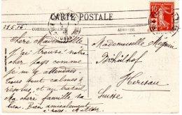 Timbre De France SEMEUSE  10c + 5c Croix-Rouge  Flam.de Paris Du 27/5/1916 TTB  Sur CP De Paris + Pub. - 1877-1920: Semi Modern Period