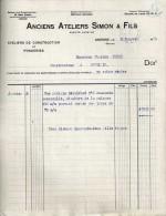 P0424 - Andenne: Anciens Ateliers Simon & Fils: Facture 1920 - 1900 – 1949