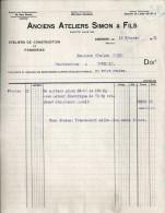 P0425 - Andenne: Anciens Ateliers Simon & Fils: Facture 1920 - 1900 – 1949