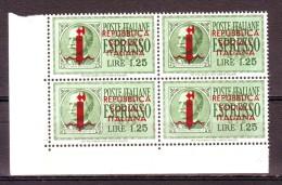 ITALIA ITALY 1944 R.S.I   ESPRESSO DA 1,25  DEL 1932 SOPRAS.  QUARTINA   MNH** - 4. 1944-45 Repubblica Sociale