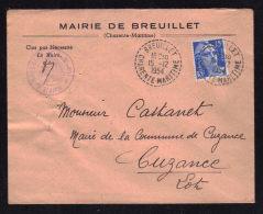 Cachet Recette Distribution BREUILLET - CHARENTE MARITIME / Enveloppe Mairie Concordante 1954 - Postmark Collection (Covers)