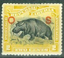 Liberia 1901 Hippopotamus O S Overprinted  MH* - Lot. 2101 - Liberia