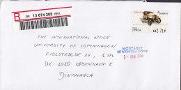 Spain Registered Certificado Label MADRID 2004 Cover Letra To Denmark ATM Frama Label Old Car (2 Scans) - Poststempel - Freistempel