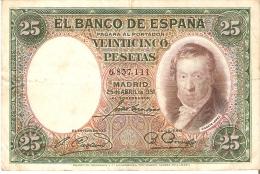 BILLETE DE ESPAÑA DE 25 PTAS DEL AÑO 1931 EN CALIDAD BC SIN SERIE - [ 2] 1931-1936 : Republiek