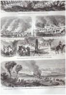 GRAVURE D Epoque    1865. Guerre De Secession General Lee Warren Pont De Notaway  Weldon Line American Civil War - Documentos Antiguos