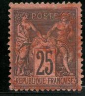 France -  N°  91 - 25 C. Noir S. Rouge - Qualité:  Obli. - Cote 25€ - 1876-1878 Sage (Type I)