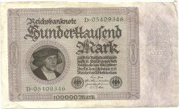 GERMANY - 100 000 MARK 1/02/1923 - [ 3] 1918-1933 : Weimar Republic
