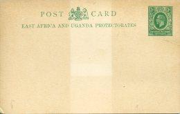 Entier Postal Carte East Africa And Uganda Protectorates 3c Vert  Trace Claire Au Centre - Kenya, Uganda & Tanganyika