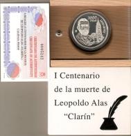 MONEDA DE PLATA DE 2000 PTAS 1 CENTENARIO ALAS CLARIN AÑO 2001 ESTUCHE CON CERTIFICADO DE AUTENTICIDAD-SILVER-ARGEN T - [ 5] 1949-… : Regno