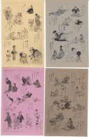 Lot Of 5 Different, Japan Daily Life Humor Story Joke Poem, Artist Illustrated Images, C1910s Vintage Cards - Asian Art