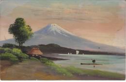 Japan Landscape, Artist 'Hand-painted' Image, Mountain Boats On Water, House, C1900s Vintage Postard - Japan