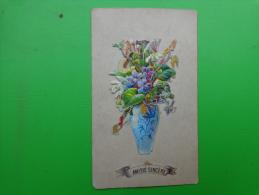 Amitie Sincere--decoupis De Fleurs Dans Un Vase-violette - Découpis