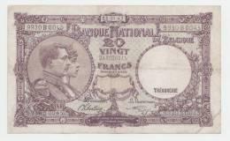 Belgium 20 Francs 1943 VF+ CRISP Banknote P 111 - [ 2] 1831-... : Belgian Kingdom