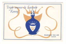 """BELGIQUE  /  NAMUR  /  Publicité """"TRIPLE ESSENCE DE LAVANDE KENNY"""", De La Pharmacie VAN LIER  ( Carte Parfumée )"""
