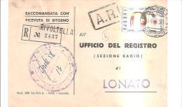 69397) Ricevuta Di Ritorno Raccomandata Con 60£ Europa Cept Da Rivoltella A Lonato Il14-4-1958 - 6. 1946-.. Repubblica