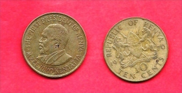 KENYA , 1969-1978, Circulated Coin, 10 Cents,nickel Brass, Km11, C1617 - Kenya