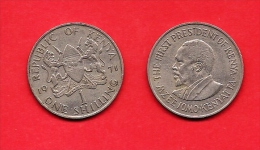KENYA , 1969-1978, Circulated Coin, 1 Shilling, Copper-nickel ,  Km14, C1618 - Kenya