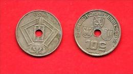 BELGIUM , 1938, Circulated Coin, 10 Centimes, Nickel Brass, Km 112, C1620 - 1934-1945: Leopold III