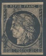 Lot N°23376  N°3b Noir Sur Chamois, Oblit Grille De 1849, - 1849-1850 Ceres